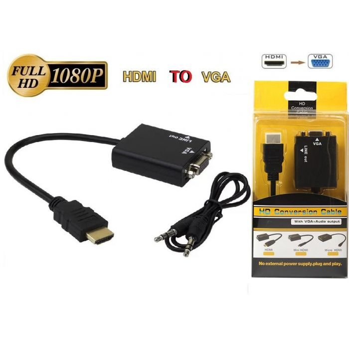 HDMI To VGA Converter Adapter Cable Audio Option